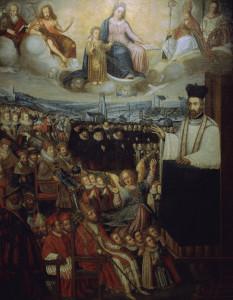 1-C283-I1 Petrus Canisius als Prediger / Wuilleret Canisius, Petrus, erster deutscher Je- suit (heiliggesprochen), 1521-1597. - 'Petrus Canisius als Prediger'. - (Unter den Zuhoerern Papst Gregor XIII., Kaiser Rudolf II. u.a.). Gemaelde, 1635(?),, Pierre Wuilleret zugschrieben. Oel auf Leinwand, 231,5 x 178,5 cm. Freiburg (Schweiz), College Saint-Michel. E: Petrus Canisius as preacher / Wuilleret Canisius, Petrus, first German Jesuit (beatified), 1521-1597. - 'Petrus Canisius as preacher'. - (Amonst the listeners Pope Gregory XIII, Emperor Rudolph II et al). Painting, 1635(?), ascribed to Pierre Wuilleret. Oil on canvas, 231.5x178.5cm. Freiburg (Switzerland), College Saint-Michel.
