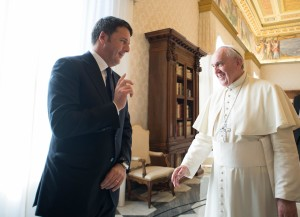 Pope Francis meets with Italian Premier Matteo Renzi during a private audience at the Vatican, Saturday, Dec. 13, 2014. ANSA/OSSERVATORE ROMANO PRESS OFFICE ++ NO SALES, EDITORIAL USE ONLY ++